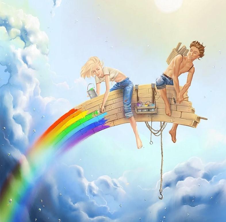 бренд выпустил человек раскрашивает радугу на небе картинка зависимости типа